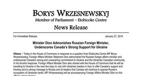 Canada`s Foreign Minister Dion to Russian counterpart Lavrov: We will not tolerate Russian minister`s insults against Ukrainian community in Canada. DOCUMENT