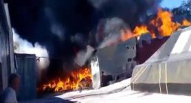 Large-scale fire broke out at factory in Berezan. VIDEO