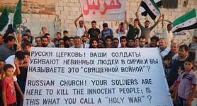 Syrians blamed Putin of killing civilians, called on Russian Orthodox Church. PHOTOS