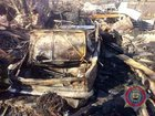 Local resident`s car burnt as militants shelled Yasynuvata. PHOTO